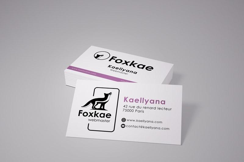 Kaellyana webmaster - Exercice de dessin d'un logo et mis en scène sur une carte de visite